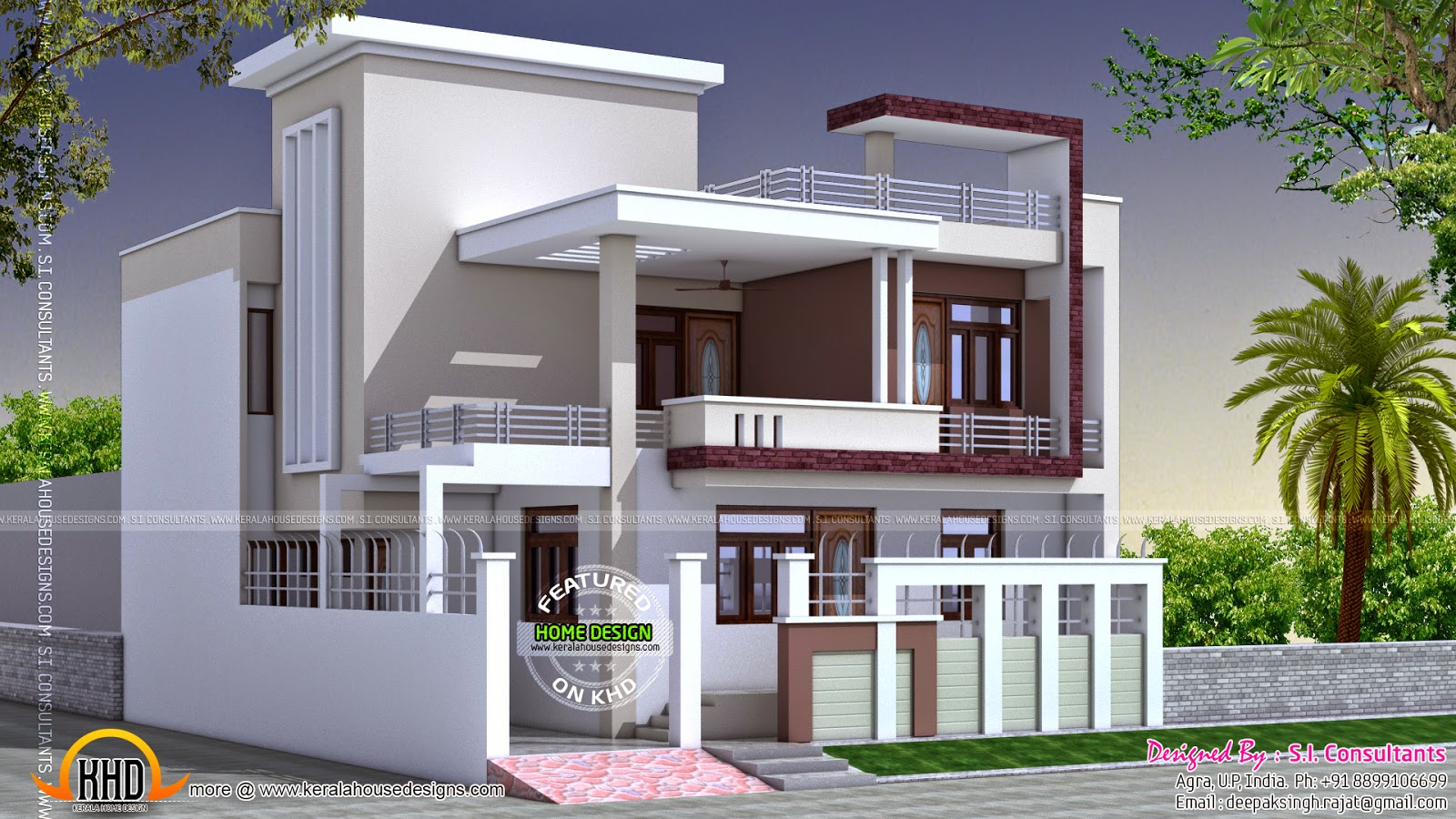 North indian square roof house kerala home design and for Home front design indian style