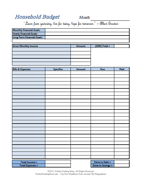 substance of living  household budget worksheets