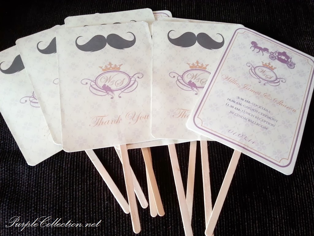 program fan, kuala lumpur, malaysia, kepong, cyberjaya, wedding, marriage, card, invitation, invites, horse carriage, purple, beige, ice cream stick, thank you card, custom made, unique, handmade, hand crafted