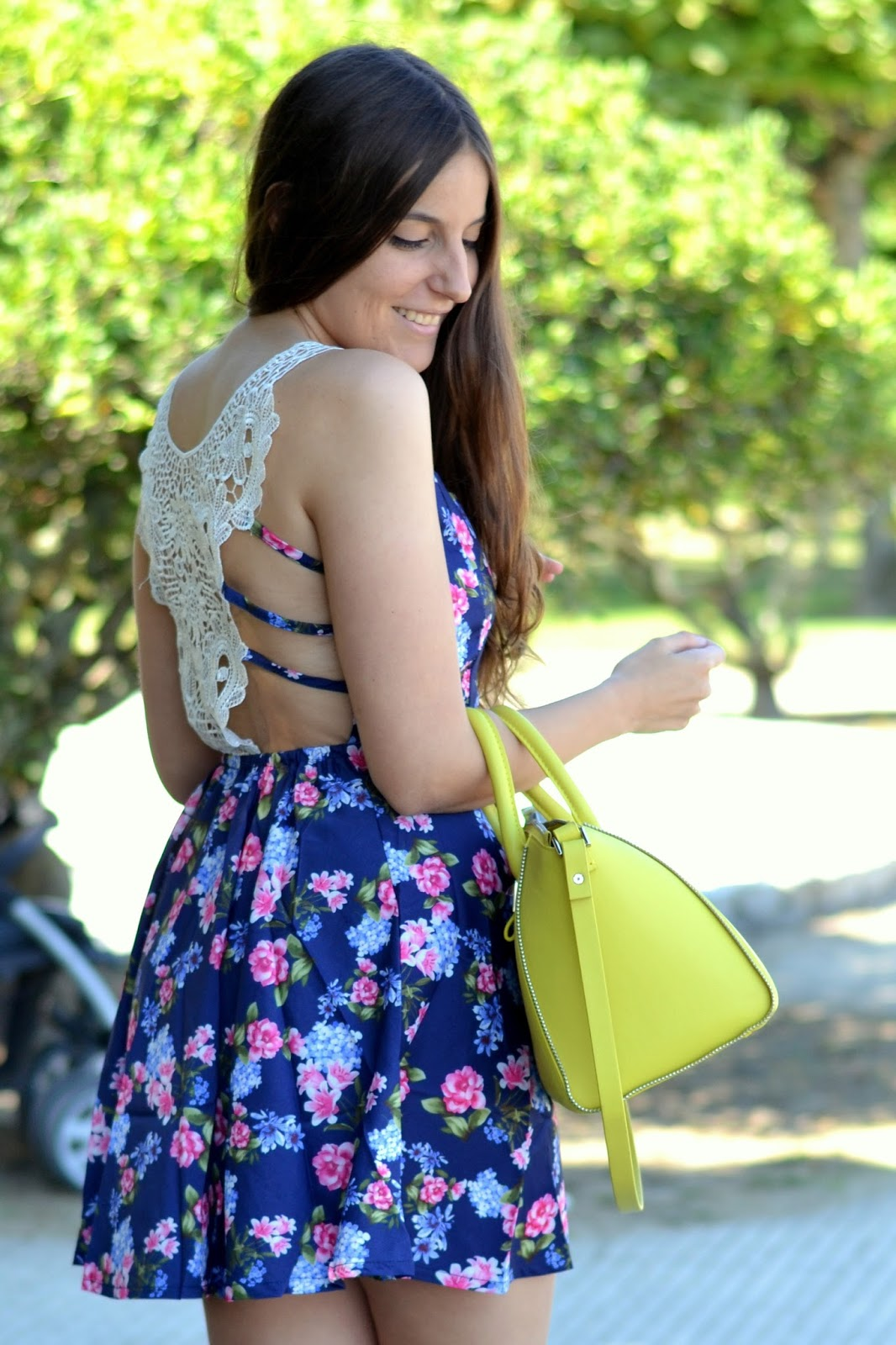 new dress, backless details, floral print