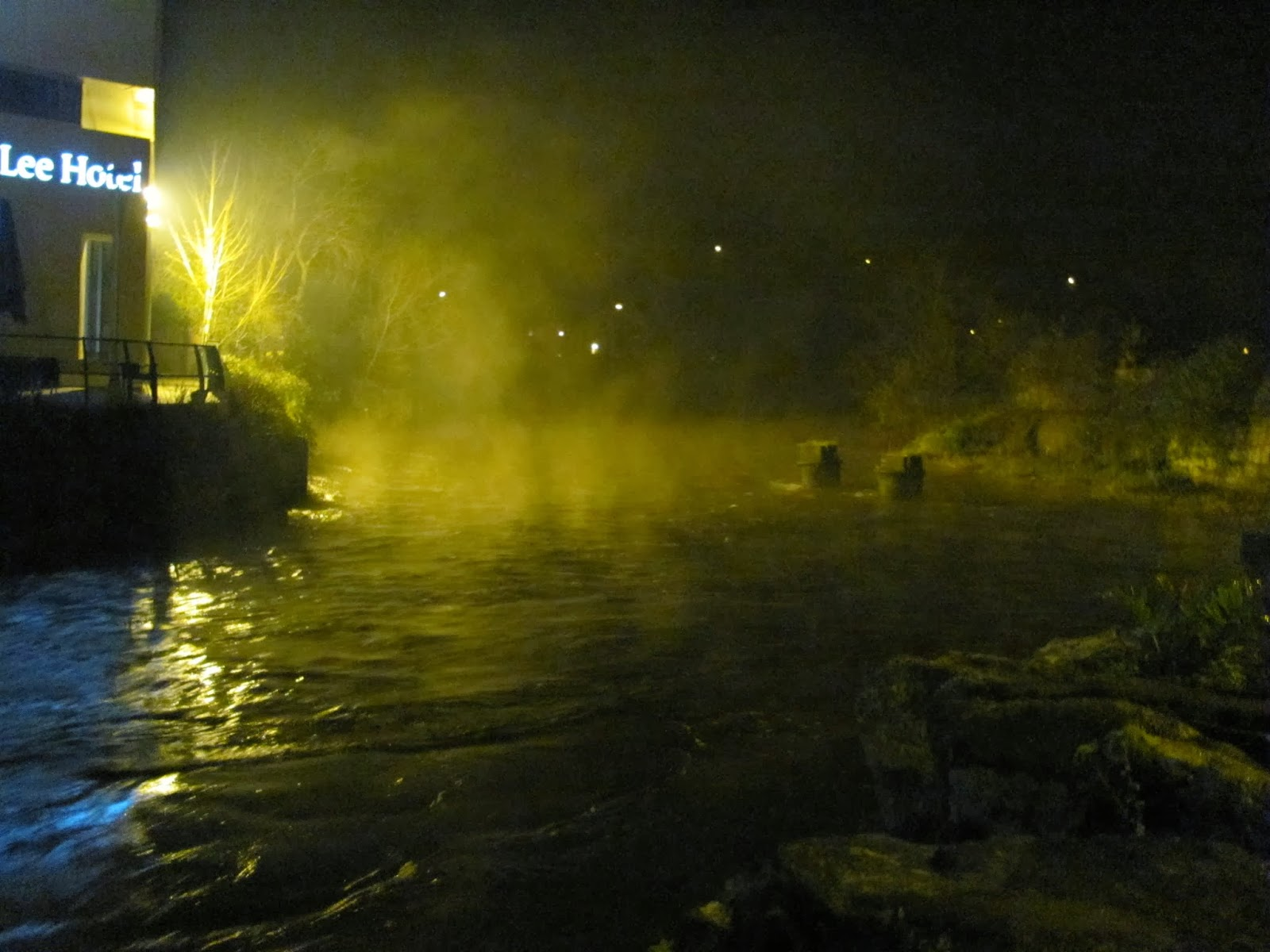 Christmas Night Mist on River Lee South Fork in Cork, Ireland