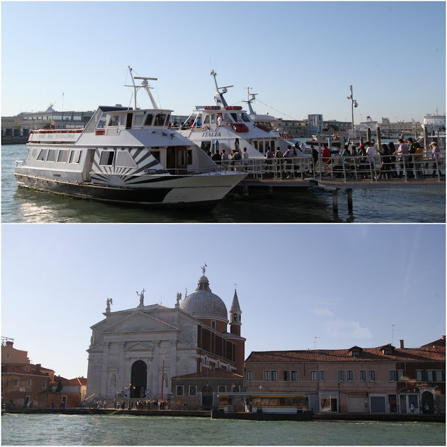 Water buses and San Giogio in Venice, Italy