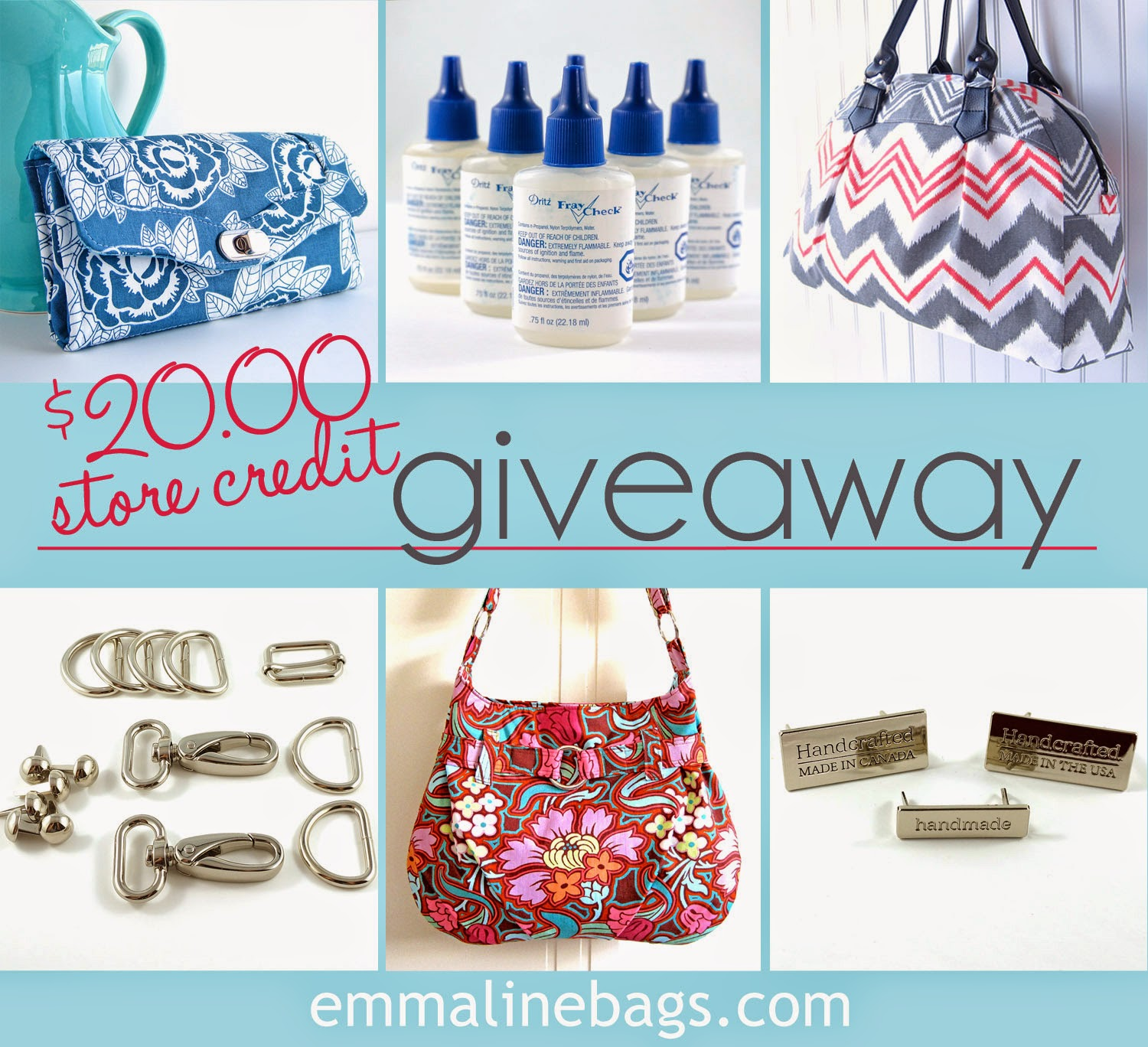 20$ store credit prize at emmalinebags.com. Enter by May 16, 2014