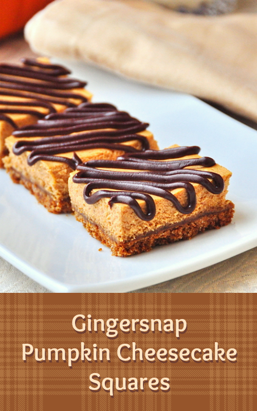 Gingersnap Pumpkin Cheesecake Squares - a freezer friendly cheesecake dessert square recipe that combines the great flavor of pumpkin cheesecake with a gingersnap crumb crust in a satisfying smaller portion alternative to an entire slice of cheesecake. Perfect for Holiday entertaining; just pull a few out of the freezer at a time to serve after thawing for about 20 minutes.