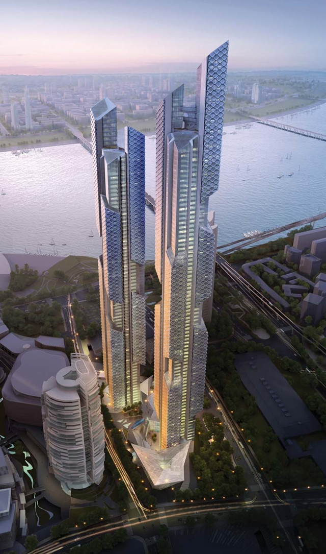 Rendering of proposed Dancing Dragons by Adrian Smith + Gordon Gill Architecture as seen from the air with streets behind them