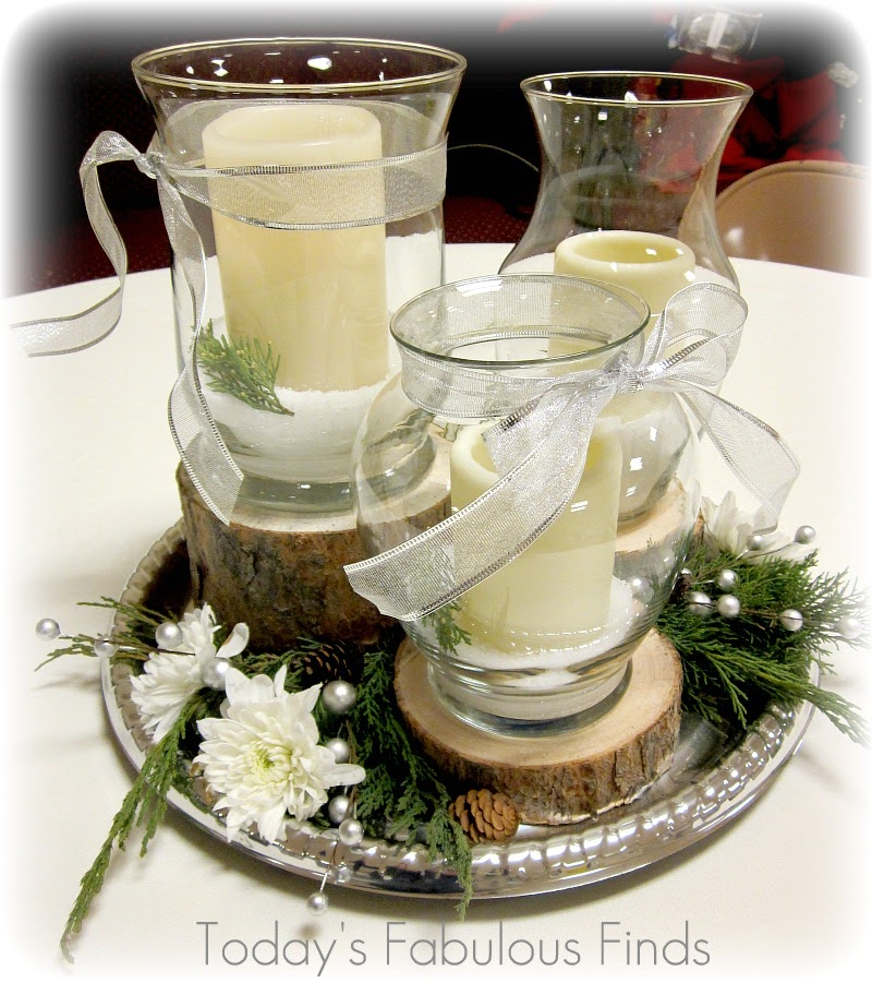 Centerpiece That Would Work For Both Receptions Was Winter Y Yet Warm Rustic The Groom Elegant Bride And Coordinated With