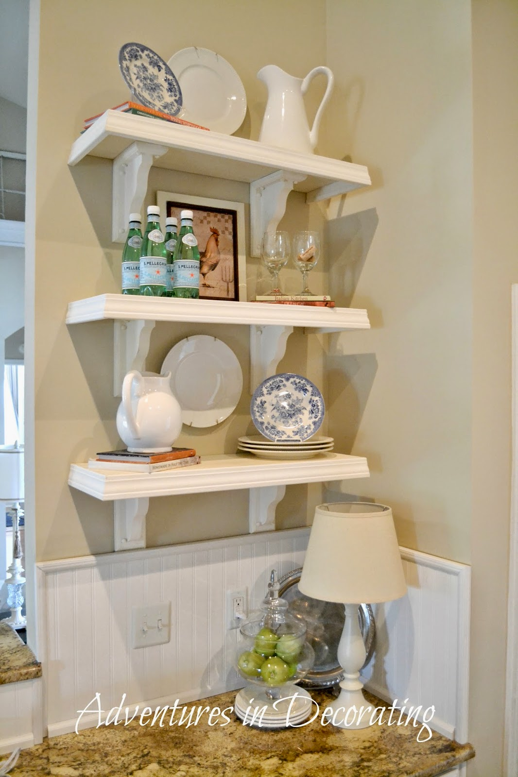 adventures in decorating spring kitchen shelves