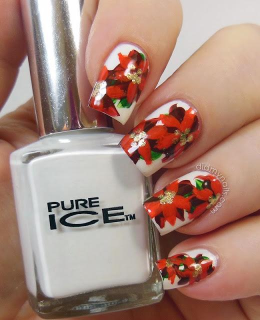 Christmas nail art poinsettias