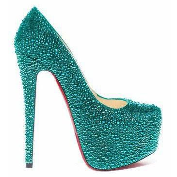 Sparkling Turquoise High Stiletto Heels