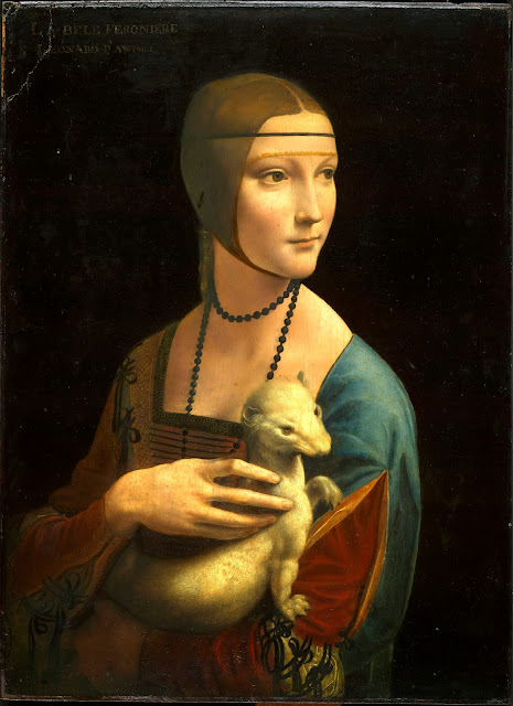 "Painting ""Lady with an Ermine"" by Leonardo da Vinci, 1489-1490"