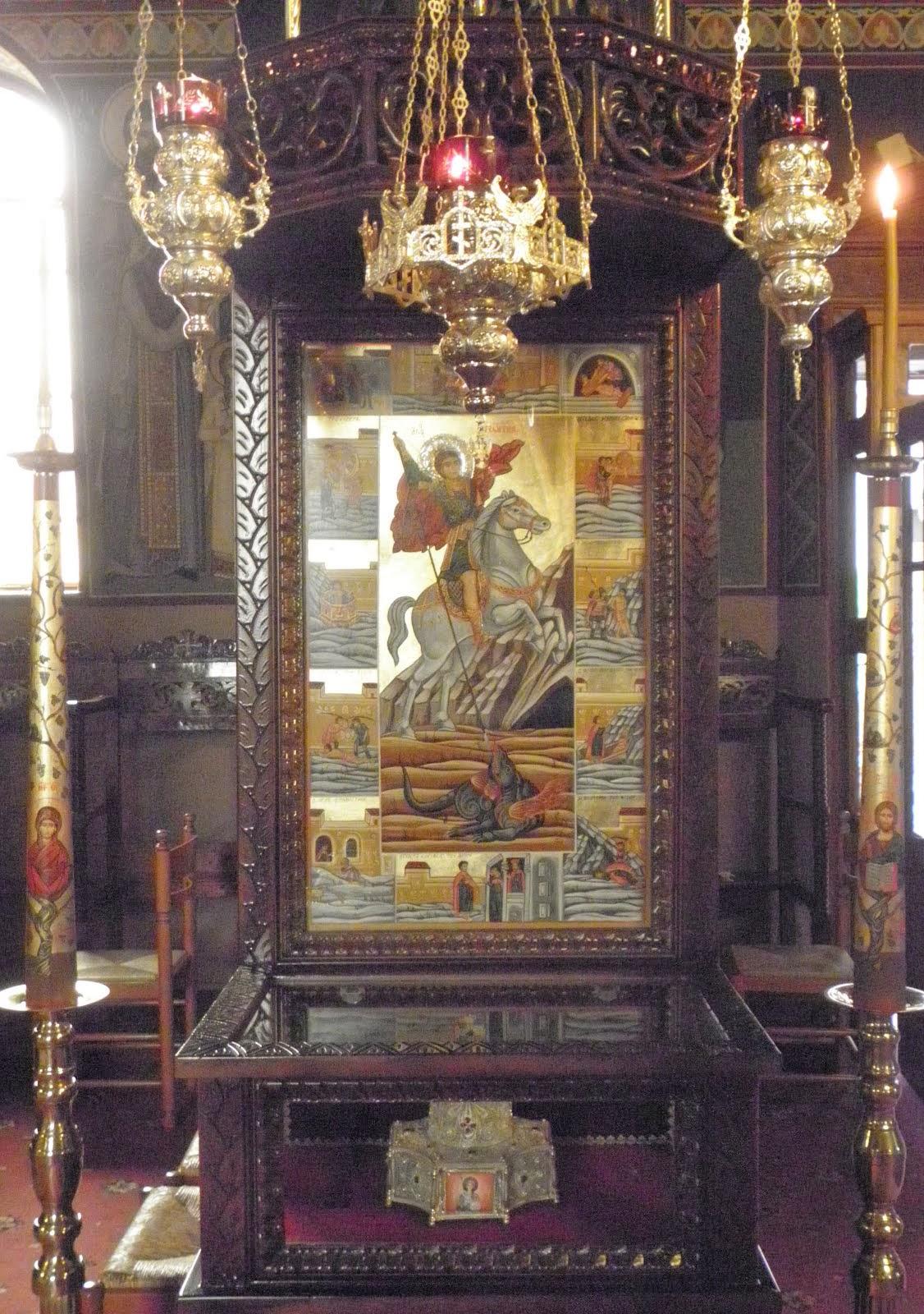 Τροπαιοφόρε Μεγαλομάρτυς Γεώργιε, πρέσβευε Χριστώ τω Θεώ, σωθήναι τας ψυχάς ημών