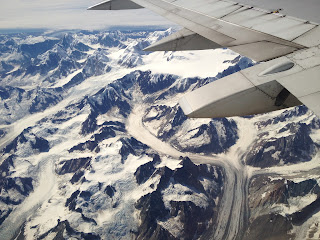 Flying over glaciers in Alaska