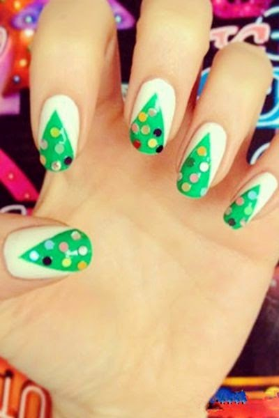 christmas tree nails, christmas nails for girls, christmas tree nails