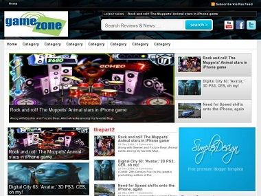 Simplex GameZone Blogger Template