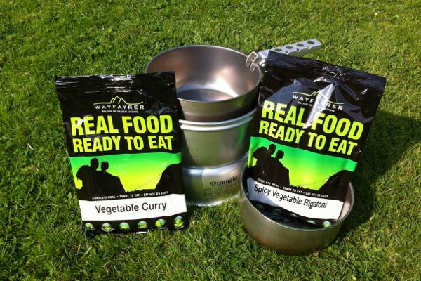 Wayfarer camping food, vegan ready meals