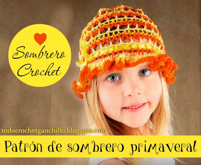 ESquema crochet de sombrero panamá para niña