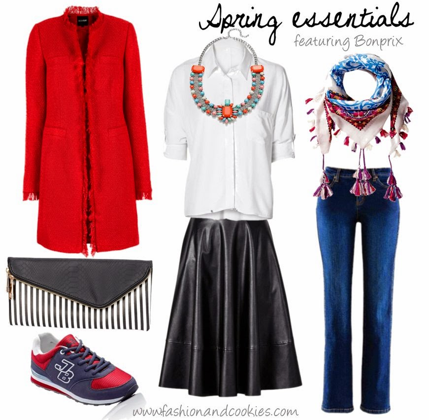 White shirt, low cost midi skirt, low cost striped clutch, low cost sneakers and cheap red coat on Fashion and Cookies fashion blog