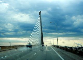 Crossing the Interstate 280 bridge in Toledo, Ohio