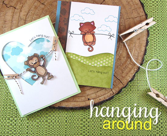 Hanging Animal Cards by Jennifer Jackson |  Newton's Nook Designs | Hanging Around Stamp Set