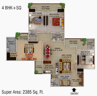 Cape Town :: Floor Plans,4 BHK + SQ Super Area - 2385 Sq Ft