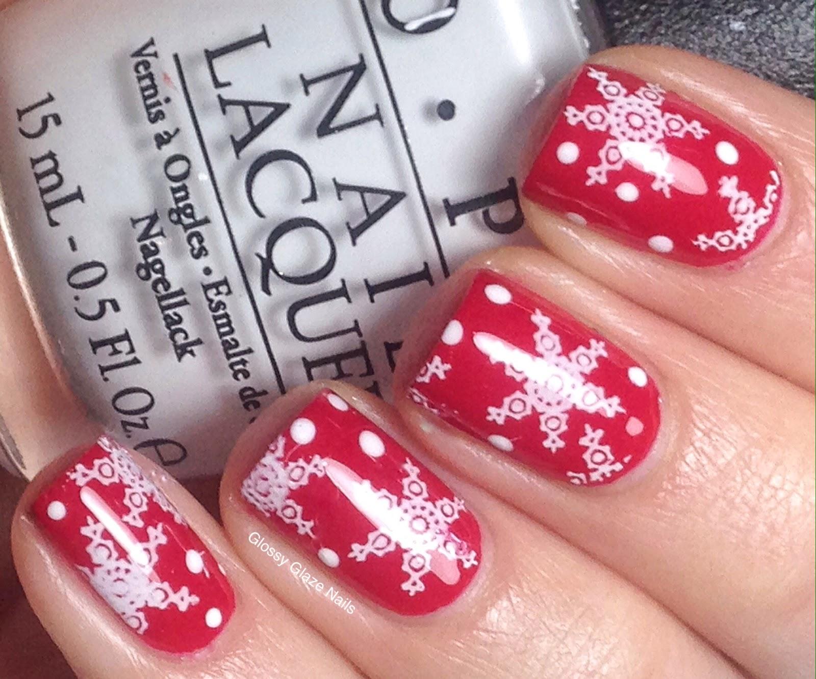 Stamping Snowflake Nail Art - Glossy Glaze Nails