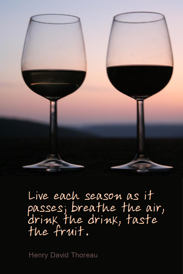 visual quote - image quotation for LIFE - Live each season as it passes; breathe the air, drink the drink, taste the fruit. - Henry David Thoreau