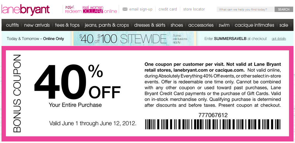 Lane bryant coupons codes
