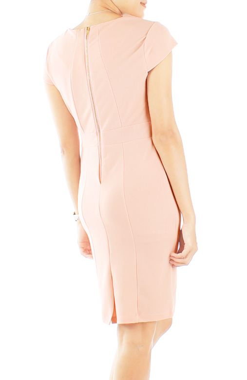 Pastel Pink Zirconia Work Dress with Cap Sleeves