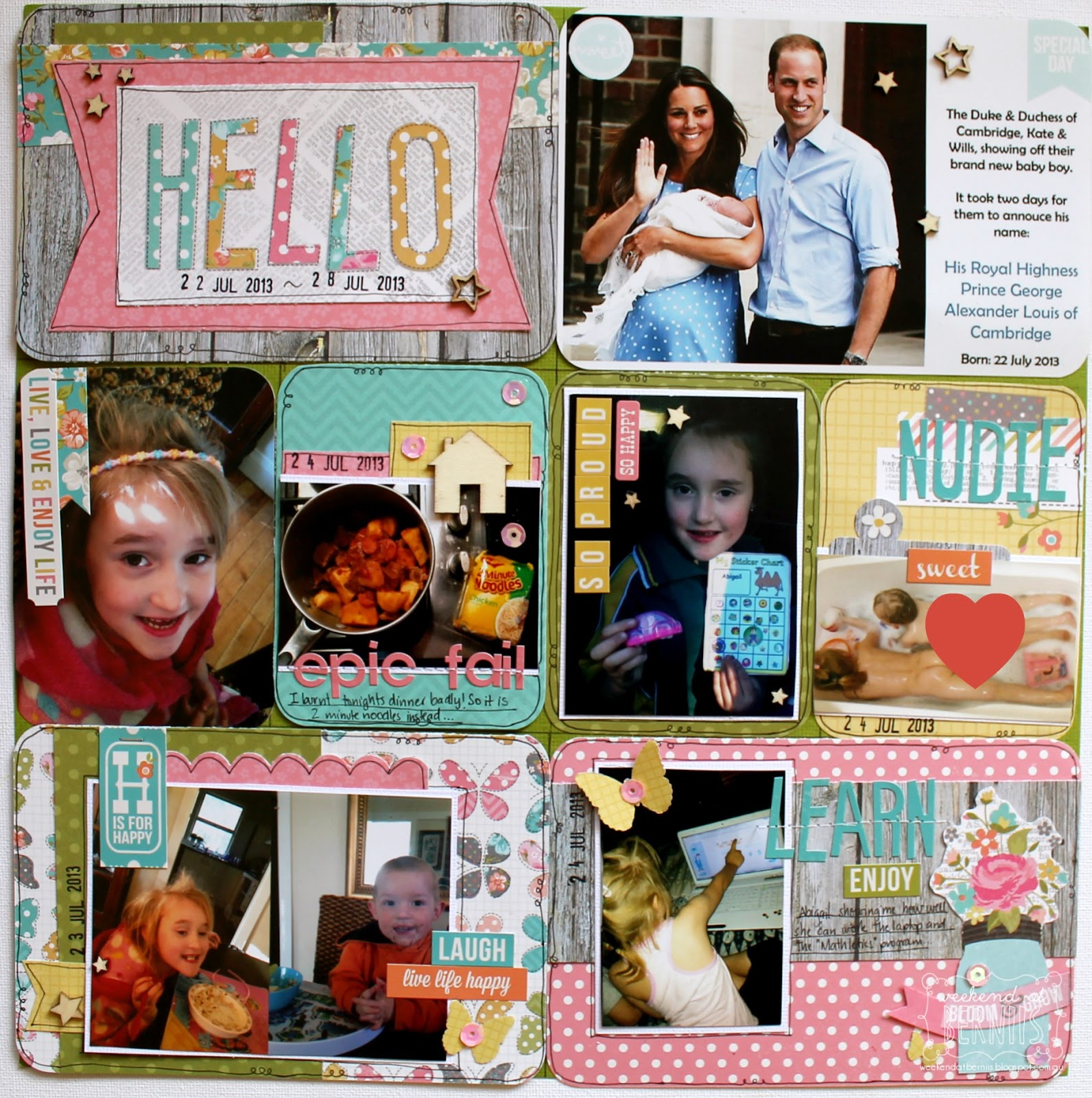 Project Life Spread by Bernii Miller using the Simple Stories Vintage Bliss collection.