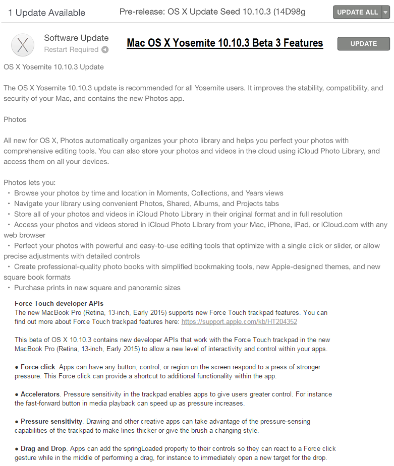 Mac OS X Yosemite 10.10.3 Beta 3 (14D98g) Features and Changelog