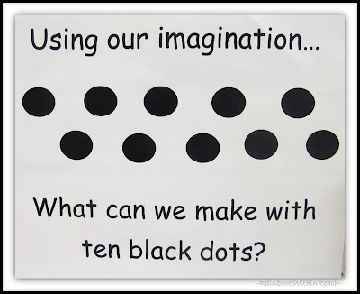 photo of: Using Our Imagination What can We Make with 10 Black Dots? RainbowsWithinReach