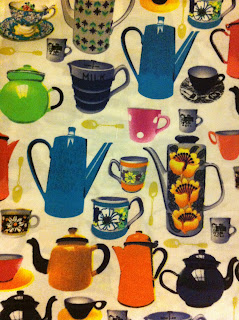 Multicoloured vintage and retro coffee and tea pot print material