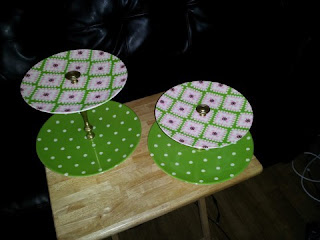 Cupcake stands:  melamine plates, candlesticks and drawer knobs.