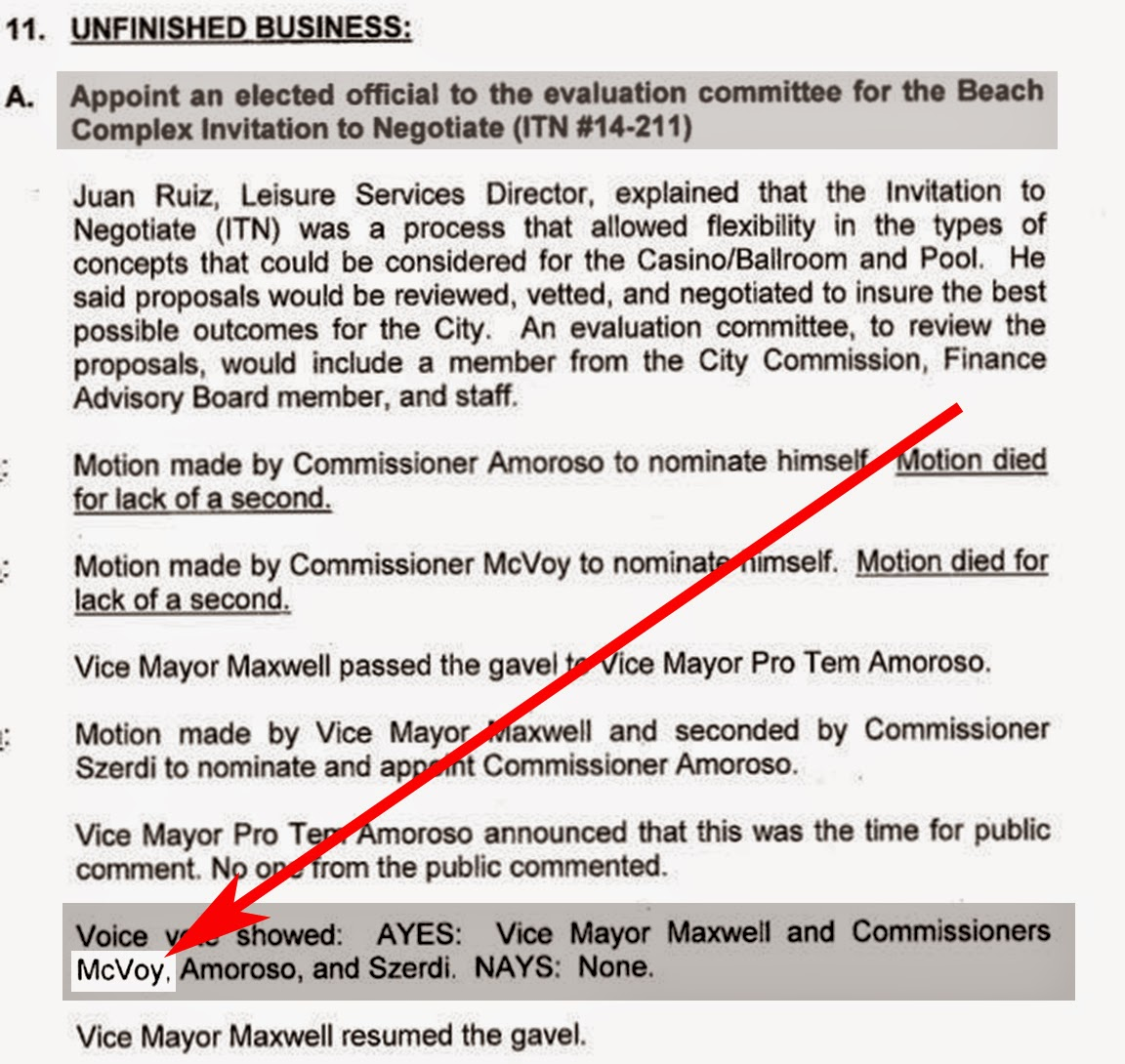 and one more thing commissioner mcvoy who just happened to chance on the meeting mentioned in the letter he voted for the secret itn process
