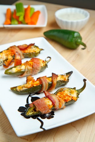 Bacon Wrapped Buffalo Chicken Jalapeno Poppers on Closet Cooking
