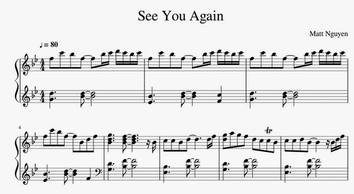 Piano u00bb Piano Tabs For See You Again - Music Sheets, Tablature, Chords and Lyrics