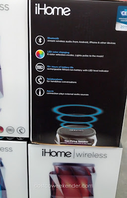 iHome iBT70 Color Changing Rechargeable Bluetooth Speaker: lightweight and portable