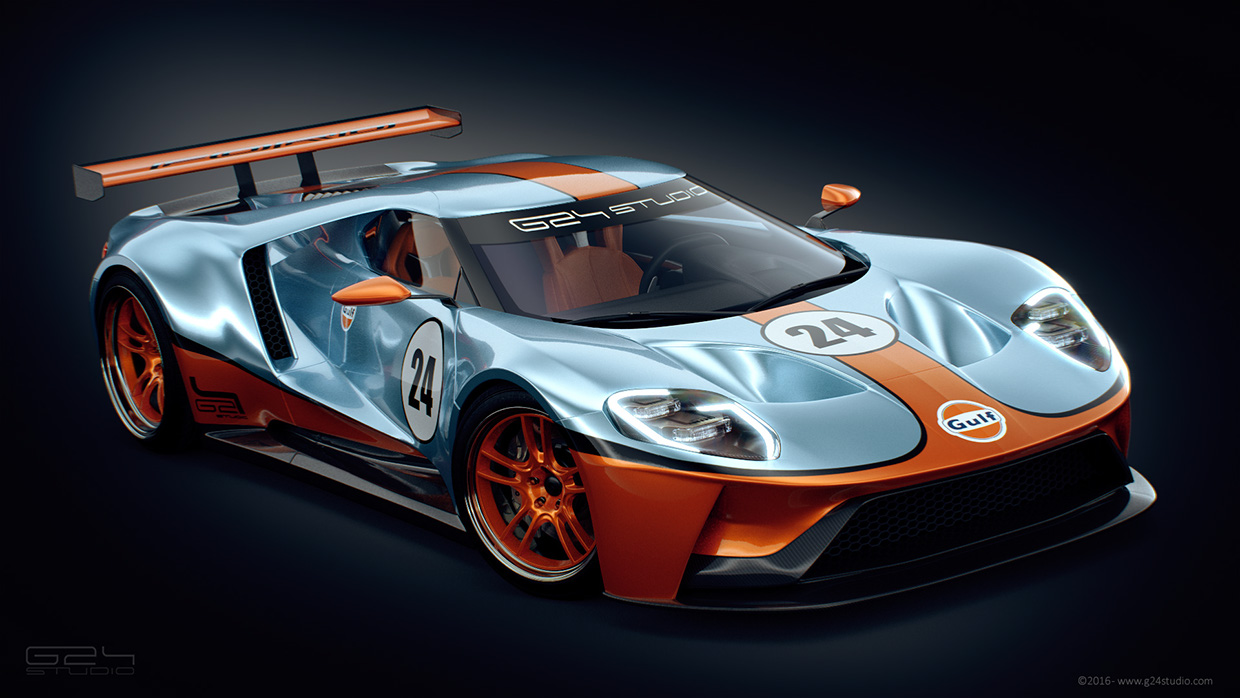 Ford Gt Racer Rendered With Iconic Gulf Livery Carscoops
