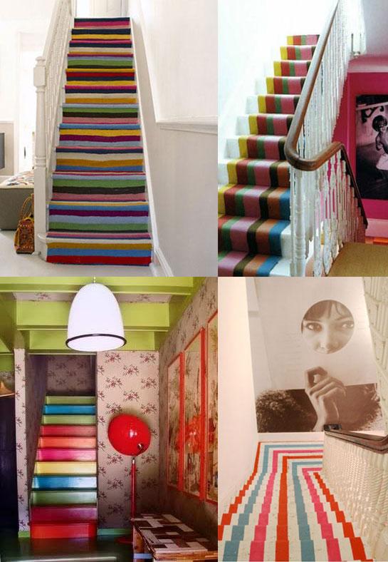 decoracao de paredes de escadas interiores: de parede com estampas florais, listras, aplicação de azulejos, etc