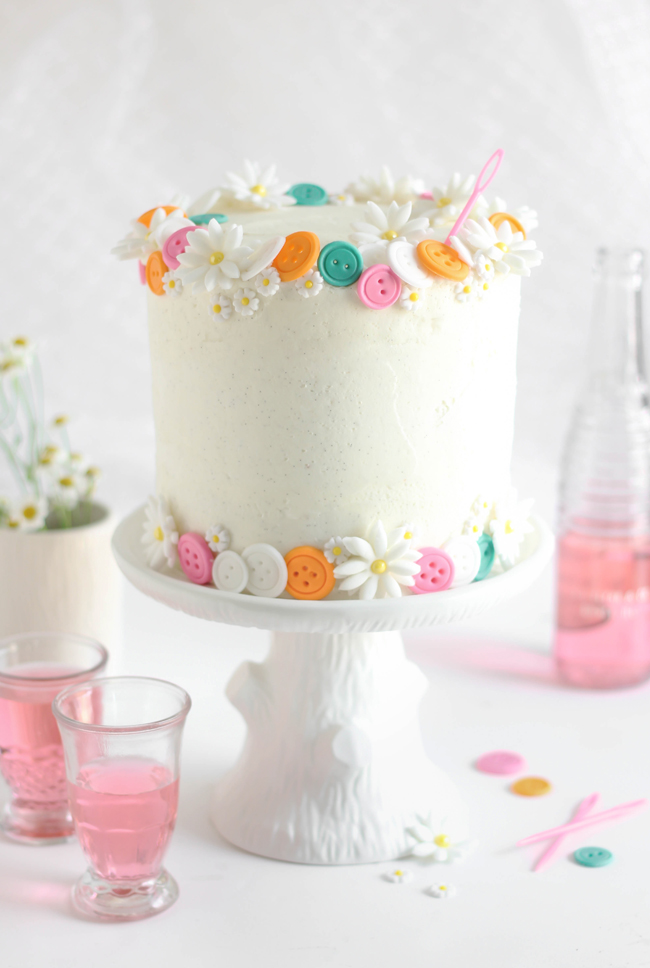 Buttons Birthday Cake (Easy White Cake with Vanilla Bean Frosting)