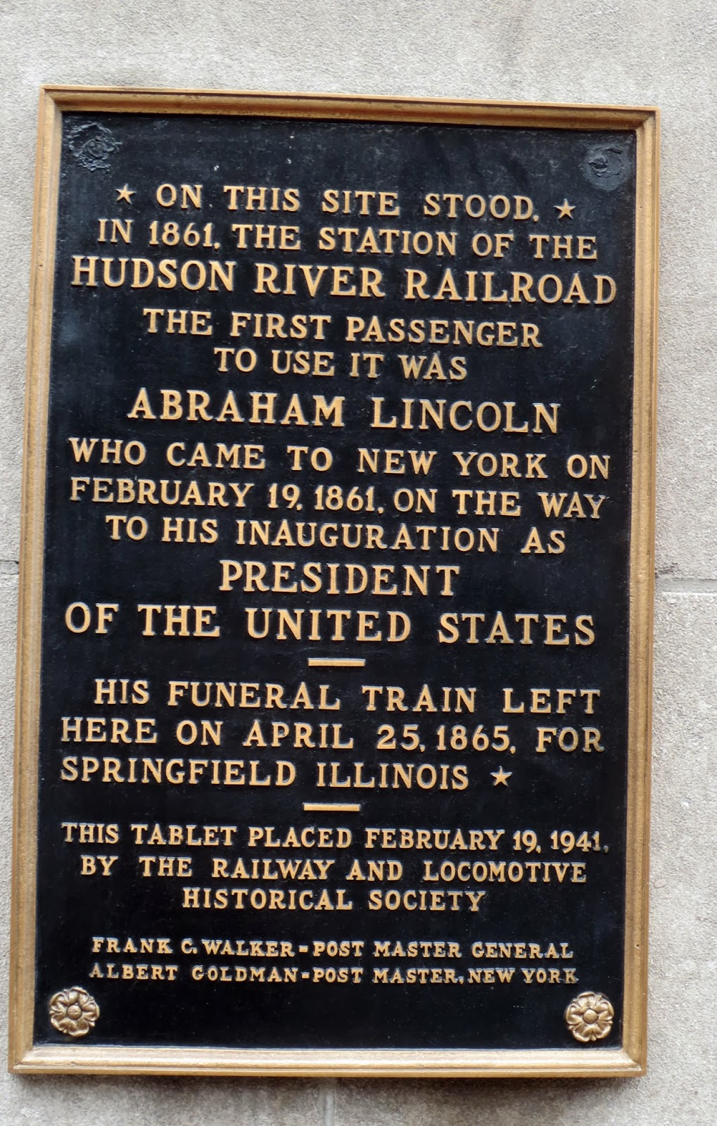Before this building on the same place there was a railway station owned by the hudson river railroad the first passenger to use the station was abraham