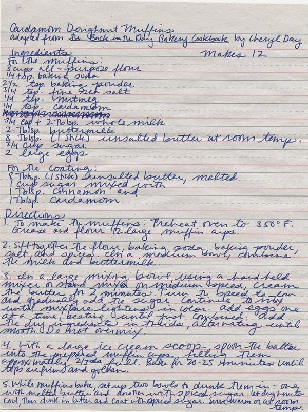 Cardamom Doughnut Muffins Handwritten Recipe