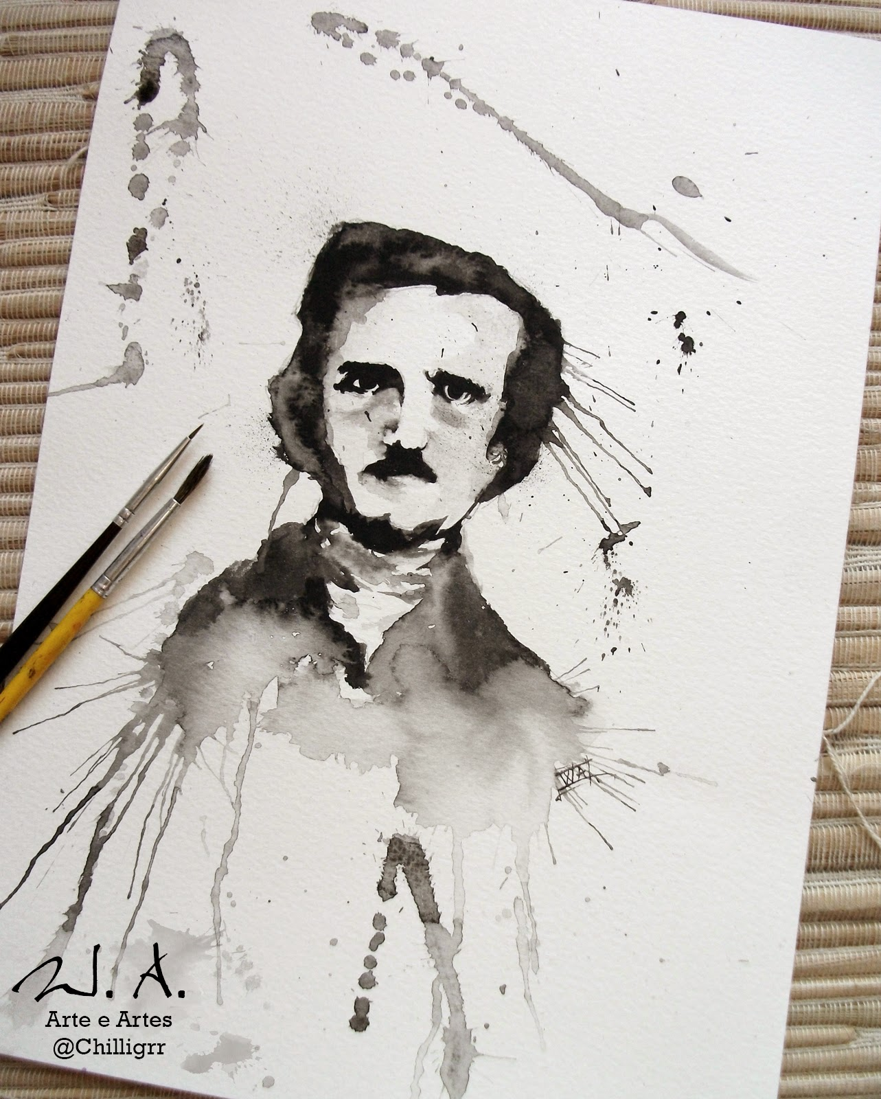 edgar allan poe, edgar allan poe painting, watercolor, watercolor painting, watercolor tattoo, painting, arte, art, pintura, aquarela, pintura com aquarela, w.albuquerque, chilligrr