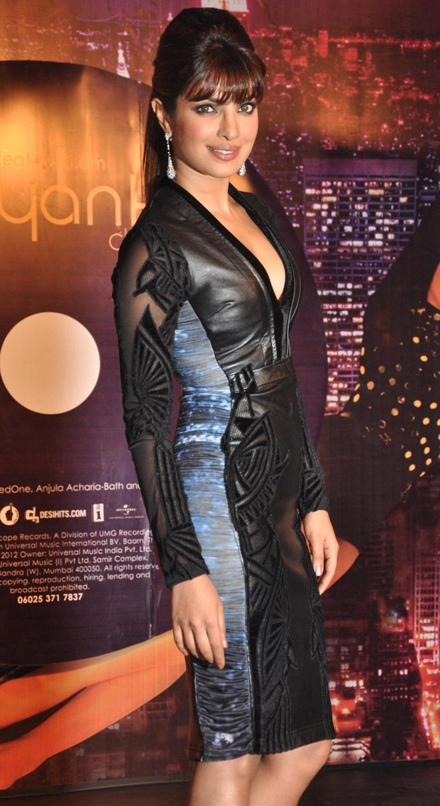 Priyanka Chopra in Saree and Tight Black Leather Dress