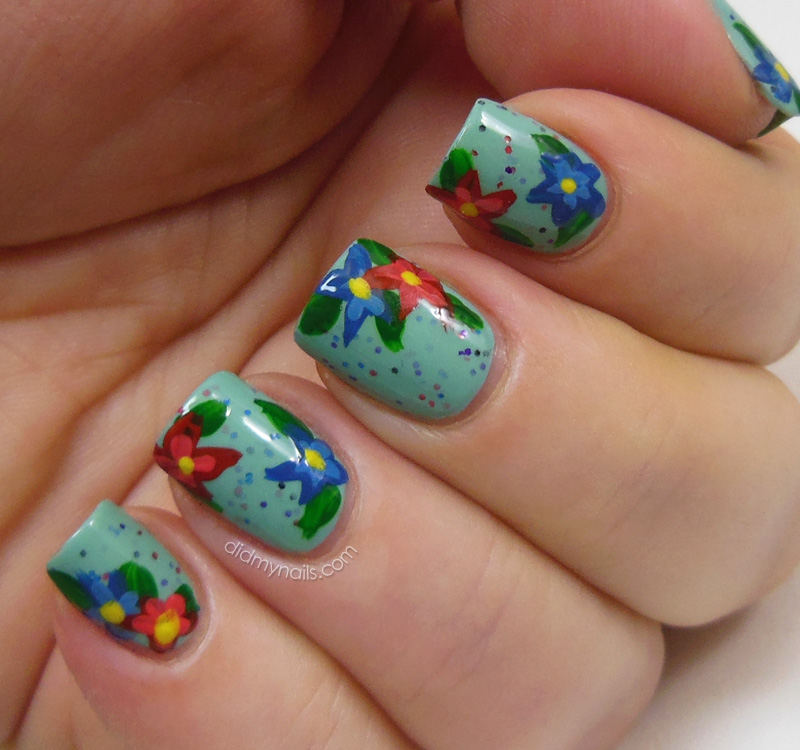 Did My Nails: Mint Condition with Flowers