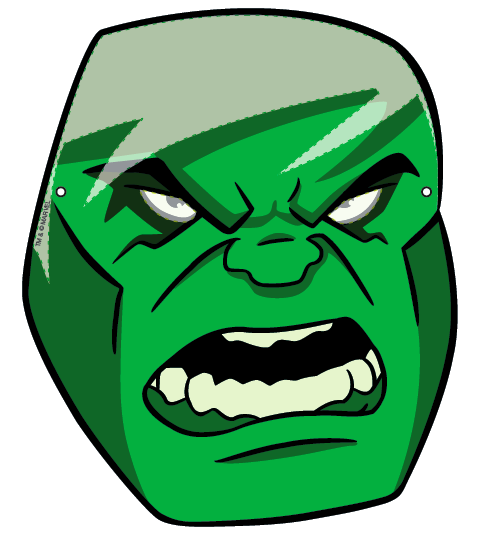 Free coloring pages of incredible hulk mask for Avengers mask template