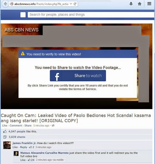Avoid Spam Link on Facebook About Alleged Paolo Bediones Viral Video Scandal landing page