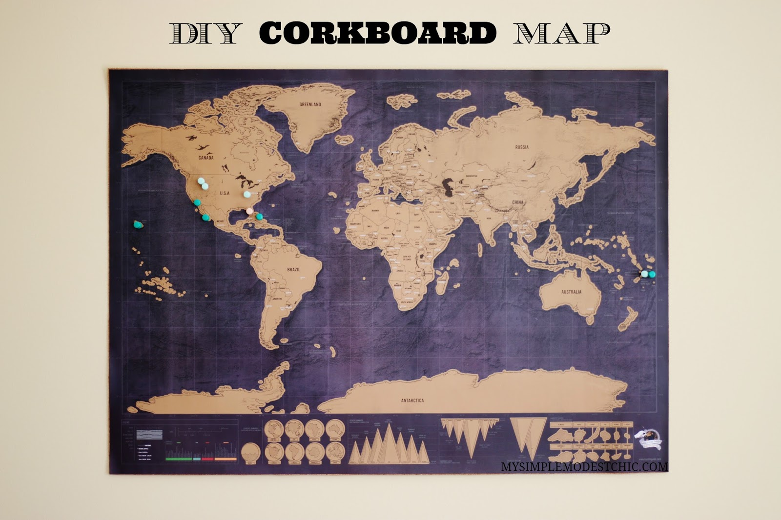 My simple modest chic easiest diy cork board map easiest diy cork board map ages ago i bought this darling scratch off map that i thought kyle would enjoy in his office but of course i didnt do gumiabroncs Gallery