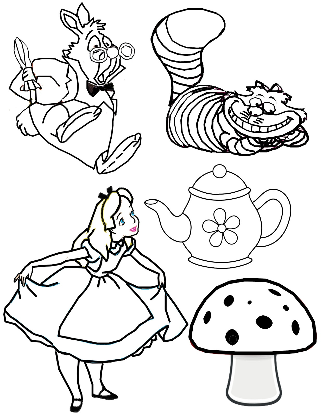 Outside the box mad hatter 39 s tea party on the 125 day of for Alice in wonderland tea party coloring pages