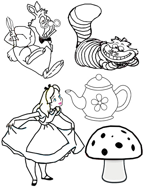 Drawings of alice in wonderland characters for Alice in wonderland tea party coloring pages